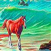 Alone Horse In The Sea Slide Puzzle