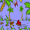 Red Frog And Friends In The Lake Coloring